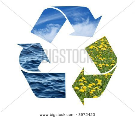 Recycling Sign With Images Of Nature