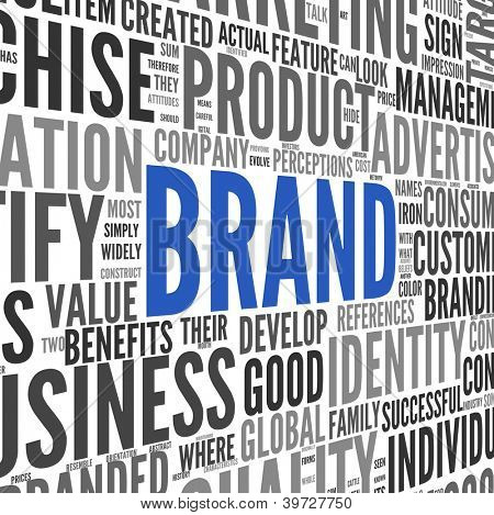 Brand related words in word tag cloud on isolated on white