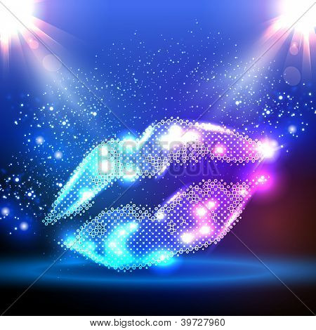 Party color illustration with lips