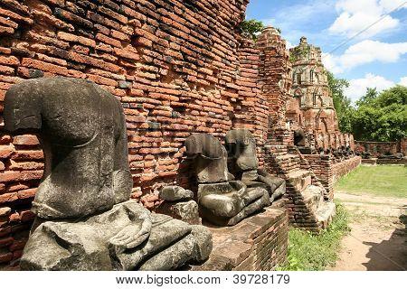 Ayuthaya Buddha Statues Temple Thailand