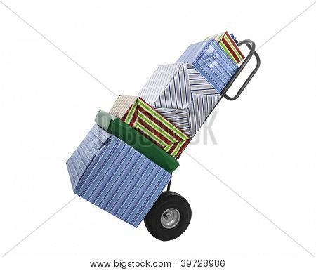 Wrapped gifts on push cart trolley isolated with clipping path.