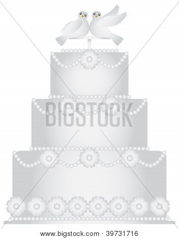 Three Tier Wedding Cake With Pair Of Doves