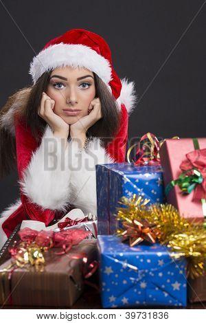 Sad Santa Girl