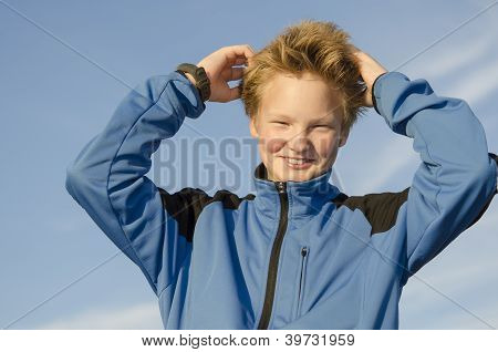Kid Adjusts His Hair