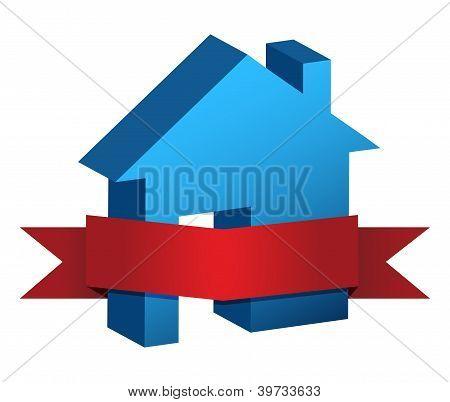 Casa azul y bandera roja