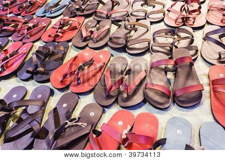 Set of colorful flip flops
