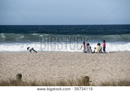 Family at beach/