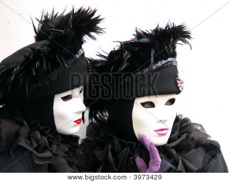 Two Venice Black And White Masks