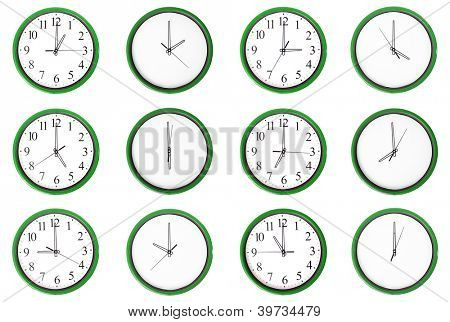 12 clocks isolated on a white background. Each one showing one hour of the day. The odd numbers are outstanding.