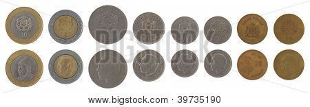 Moroccan dirham coins depicting King Hassan II of Morocco. Obverse and reverse isolated on white.
