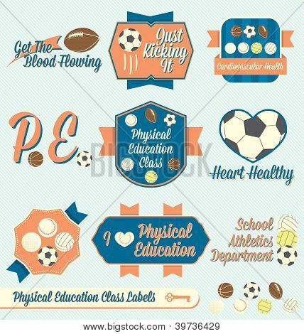 Vintage Physical Education Class Labels