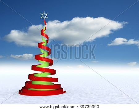 High resolution conceptual green and red Christmas fir tree with a white star ornament or decoration over a blue sky background ideal for Holidays, season,winter and religion designs as modern concept