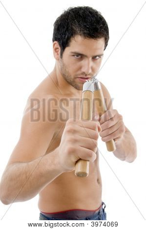 Strong Man Holding Nunchaku