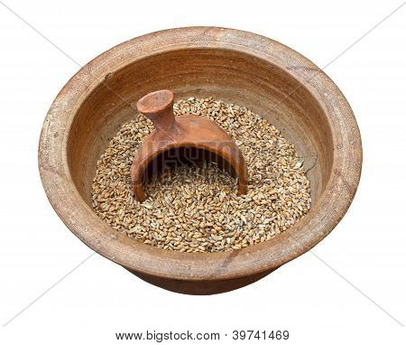 Clay Pot With Grains