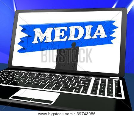 Media On Laptop Shows Internet Broadcasting