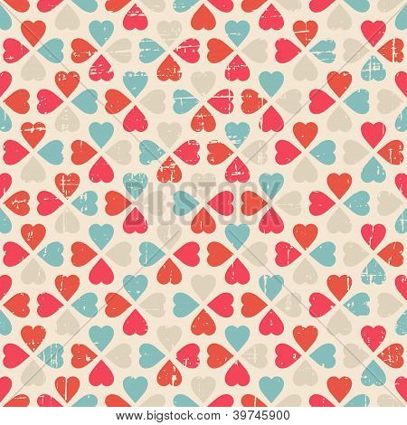 Vector seamless pattern of Valentine's Day in retro style.
