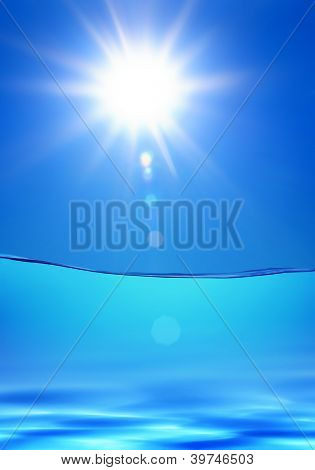 bright blue water under sun, tropical hot climate