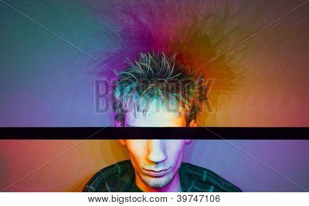 Fotografia colorida de um modelo masculino