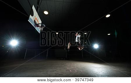 Nighttime Basketball Player