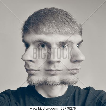 Conceptual Photo Of A Guy With Three Heads