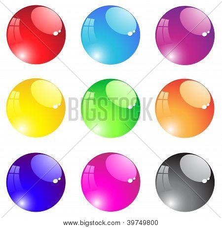 Round Transparent Aqua Button