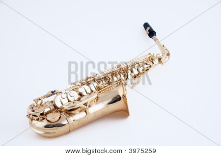 Gold Or Brass Alto Saxophone Isolated On White