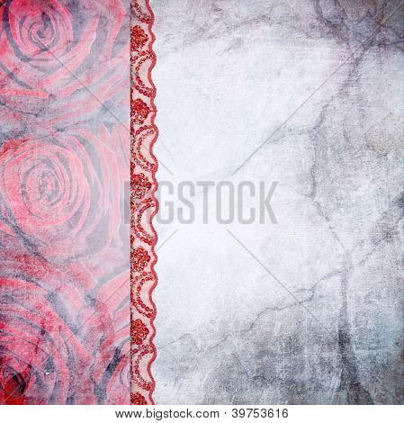 Border Of Roses And Lace. Background For The Photo Book