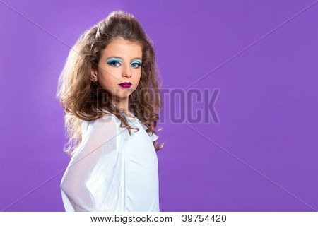 Children fashion makeup fashiondoll kid girl on purple
