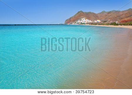 Beach Las Teresitas in Santa cruz de Tenerife north at Canary Islands near San Andres