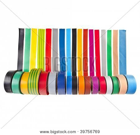 colored adhesive tape roll isolated on white background