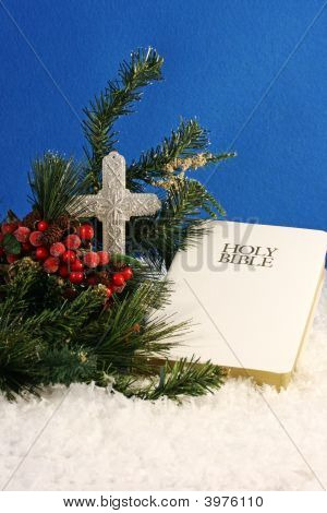 Winter Bible And Cross
