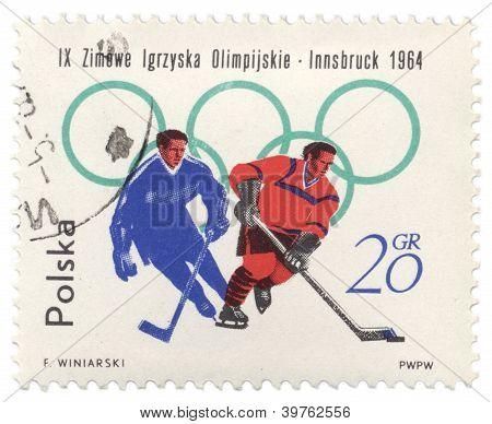 zwei Hockey-Spieler auf post-Stempel