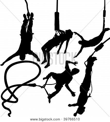 Bungee jumpers vector silhouettes