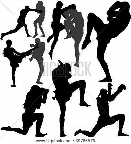 Muay Thai (boxeo tailandés) vector siluetas