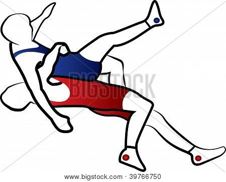 Greco-roman or freestyle wrestling. Stylized vector illustration. Fully editable.