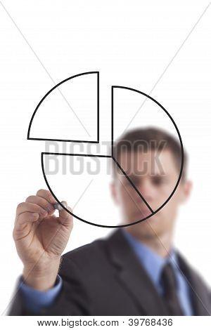 Gráfico de pizza de desenho de homem de negócios