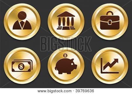 Financial Icons on Gold Button Collection Original Illustration