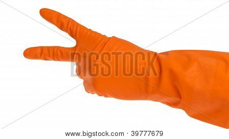 Hand In Orange Glove Count To Two