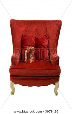Red Chair With Present And Clipping Path