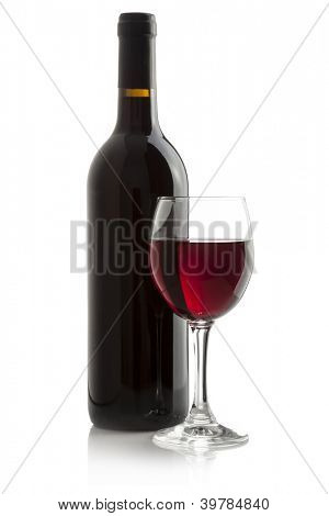Elegant red wine glass and a wine bottleisolated on a white background