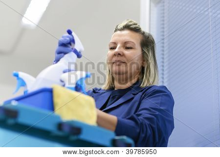 Woman Working As Professional Cleaner In Office