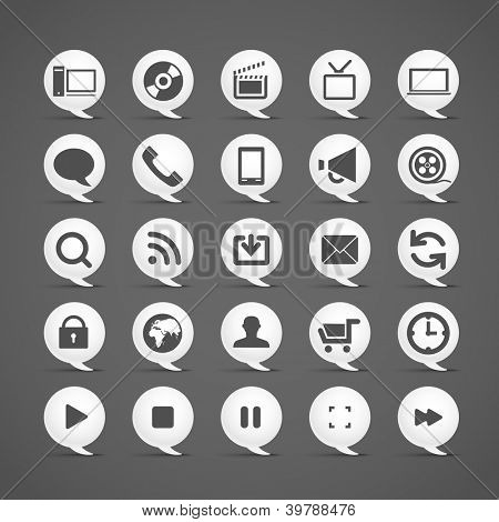 Modern media icons in clouds collection