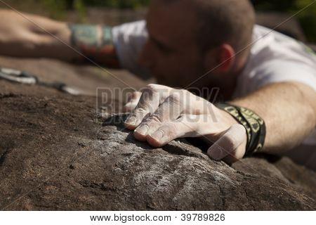 Climber On Rocks