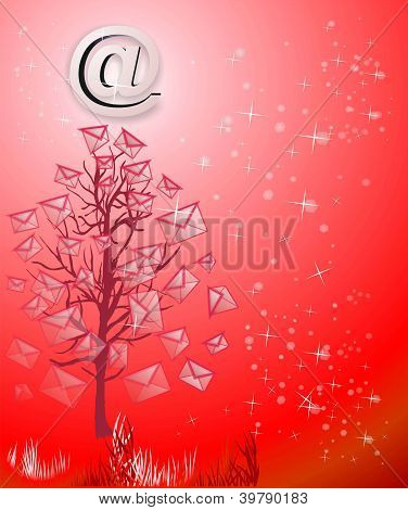 Christmas Tree From Emails On Red