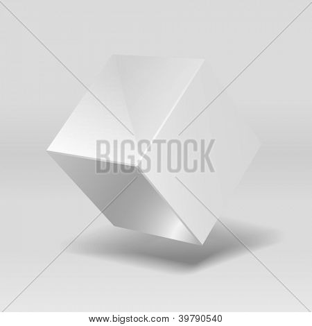 Shiny metallic cube suspended in the air, vector