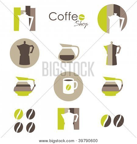 Coffee icons set - elements for your logo design