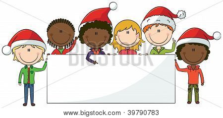 Christmas Kids With Banner