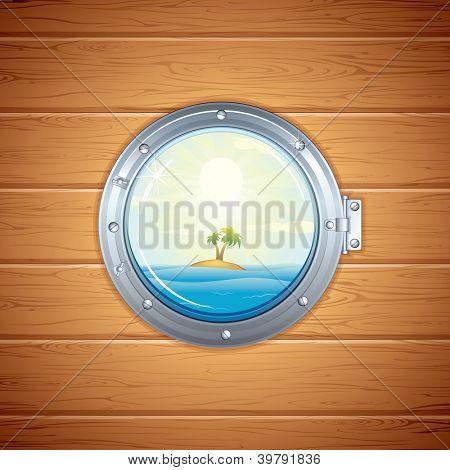 Ship Porthole. View on Tropical Island, Sea and Palm through a Shipboard Window.
