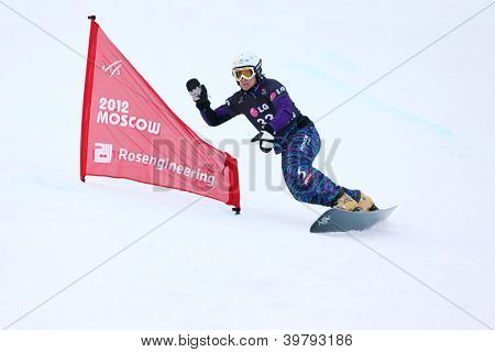 MOSCOW - MARCH 3: Stefener Johann (Austria) rides snowboard at Snowboard World Cup in Luzhniki sports complex on March 3, 2012 in Moscow, Russia.