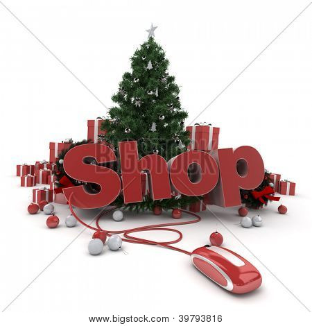 3D rendering of a Christmas decor, and the word shop connected to a computer mouse